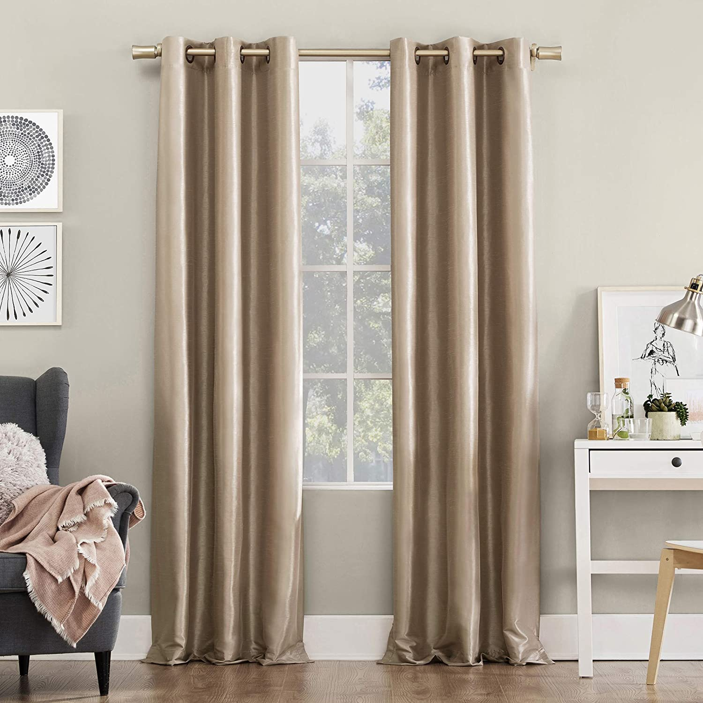 Sun Zero 55746 Bardot Dupioni Faux Silk 100 Blackout Grommet Curtain Panel 40 X 63 Oatmeal Home Kitchen