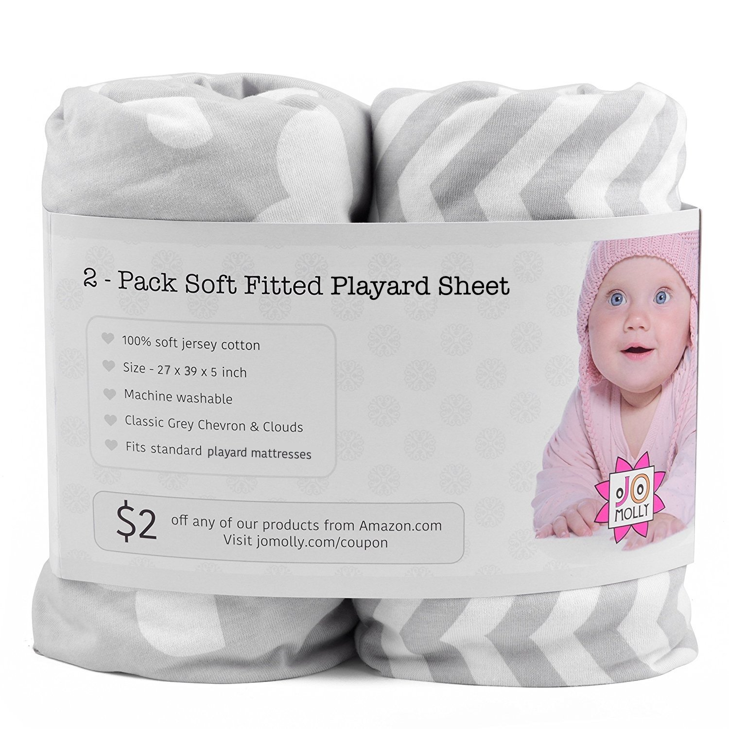 Playard Sheets, 2 Pack Cloud & Chevron Fitted Soft Jersey Cotton Playpen Bedding 71ntC4Su-tL