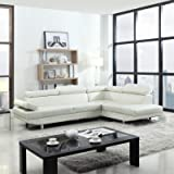 GTU Furniture 2Pc Contemporary Faux Leather Sectional Armrest Sofa Set, in Black/ White (WHITE)