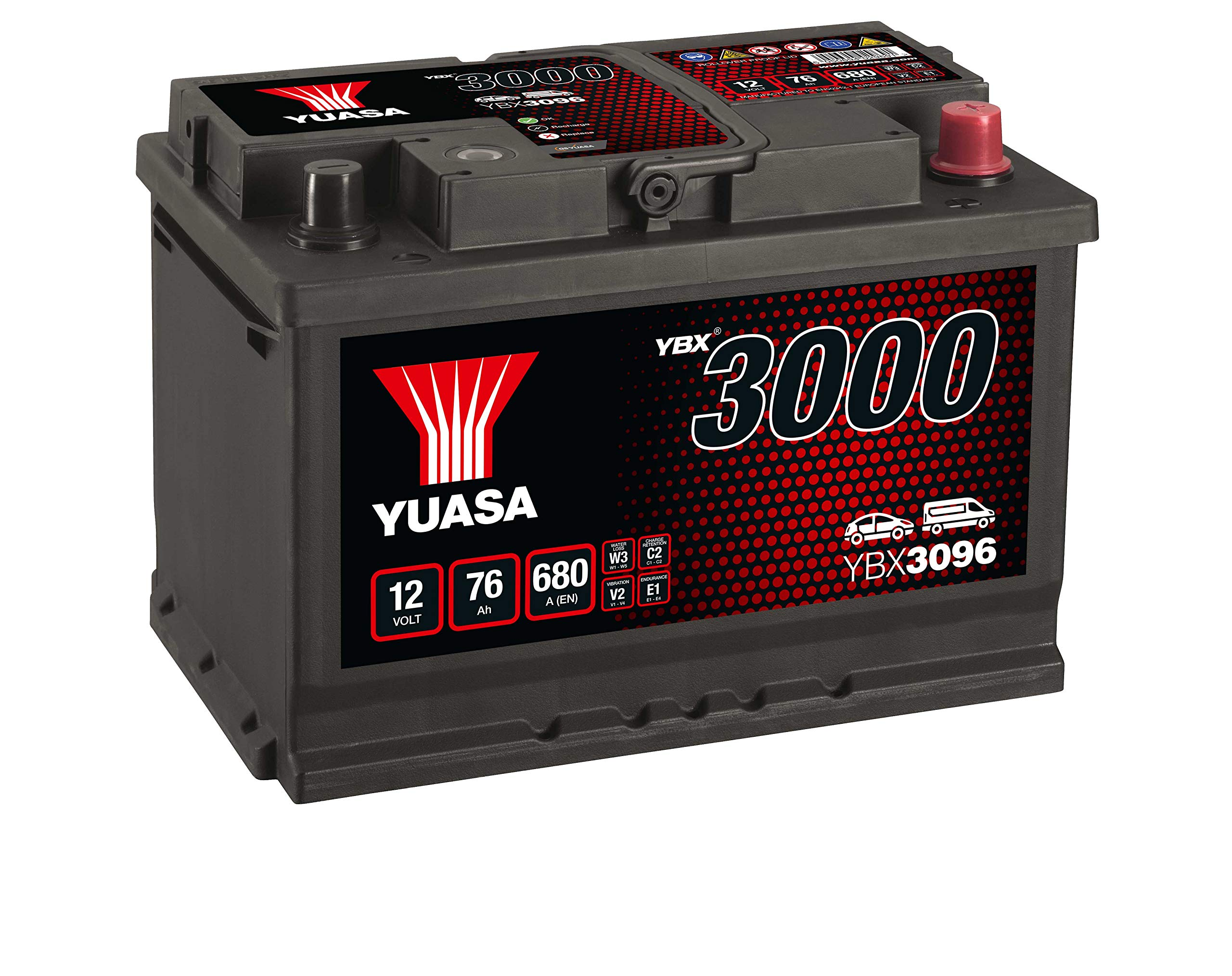 Yuasa YBX3096 12V 76Ah 680A SMF Battery