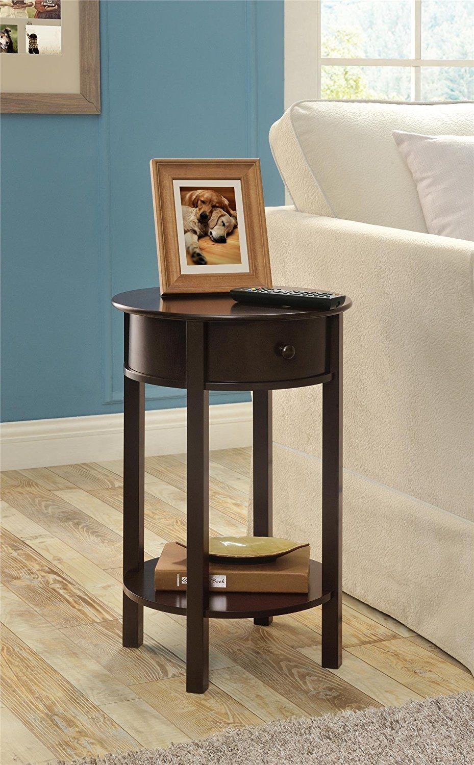 Indoor Multi-function Accent table Study Computer Desk Bedroom Living Room Modern Style End Table Sofa Side Table Coffee Table Round Accent Table