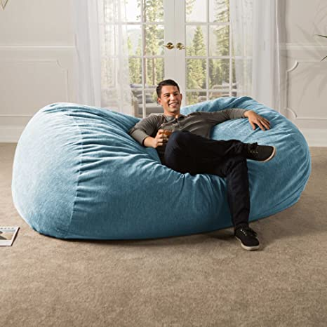 Jaxx 7 ft Giant Bean Bag Sofa with Premium Chenille Cover, Turquoise