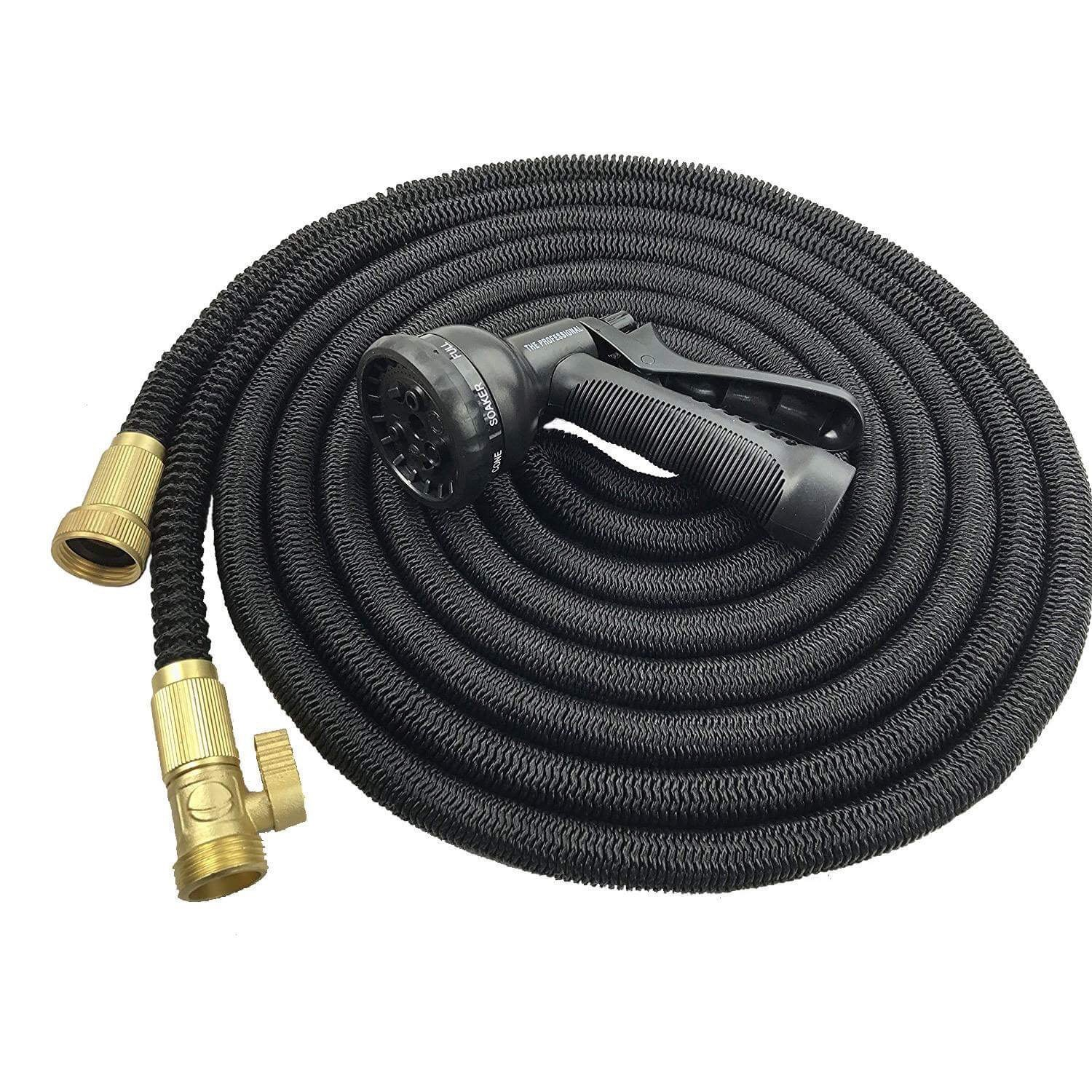 50' Expandable Garden Hose by McLaurus Lightweight, Retractable & Flexible, Super Durable Solid Brass Fittings, Free Spray Gun Nozzle, Latex Low Pressure Anti-Abrasion Inner Tube, Water Saver