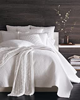 Sferra Amelia White Full Queen Quilted Coverlet U0026 Sham Set Cotton Scroll  Pattern