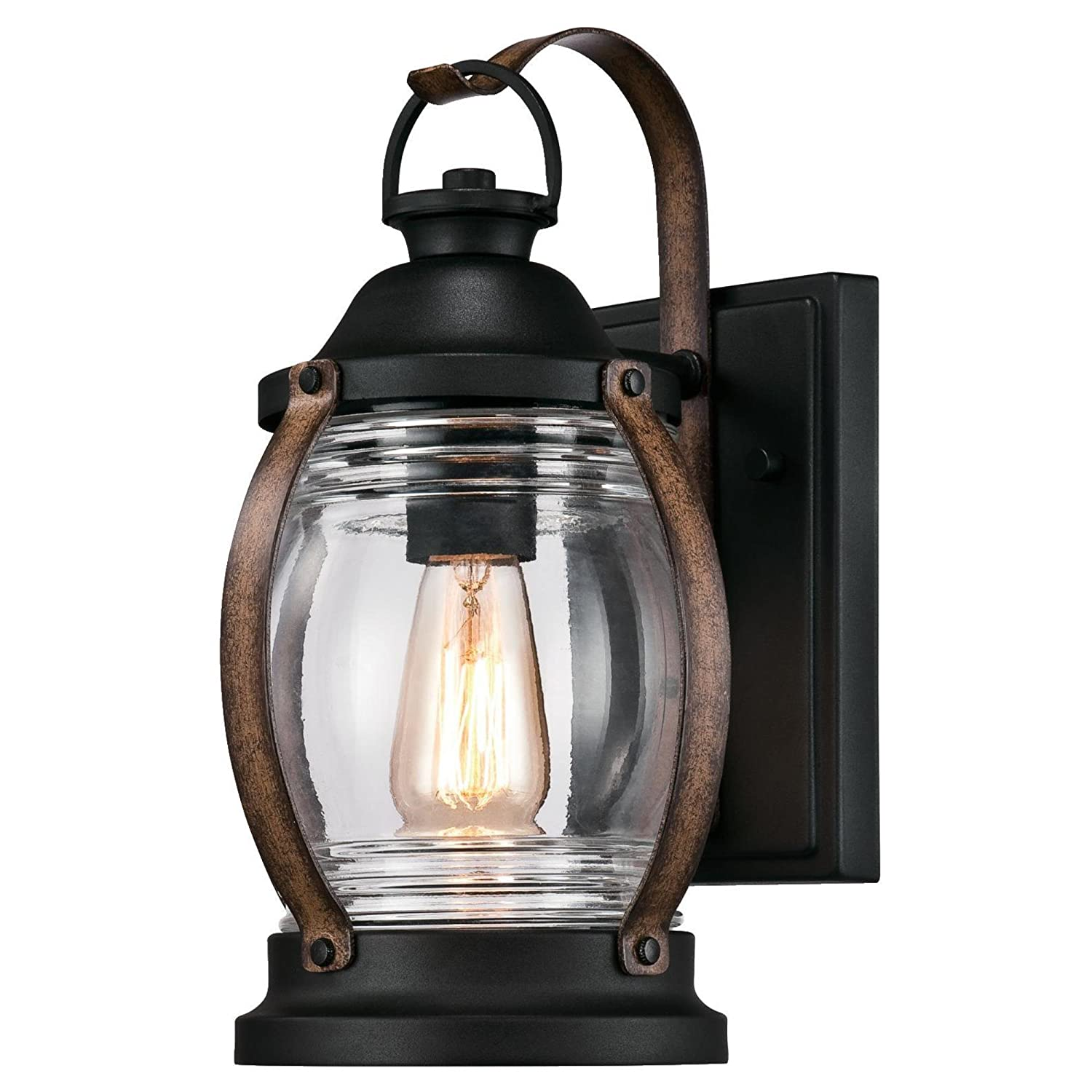 Westinghouse Lighting 6335100 Canyon One-Light Outdoor Wall Fixture, Textured Black and Barnwood Finish with Clear Glass