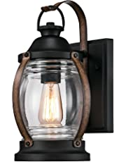 Westinghouse 6335100 Canyon One-Light Outdoor Wall Fixture, Textured Black and Barnwood Finish with Clear Glass