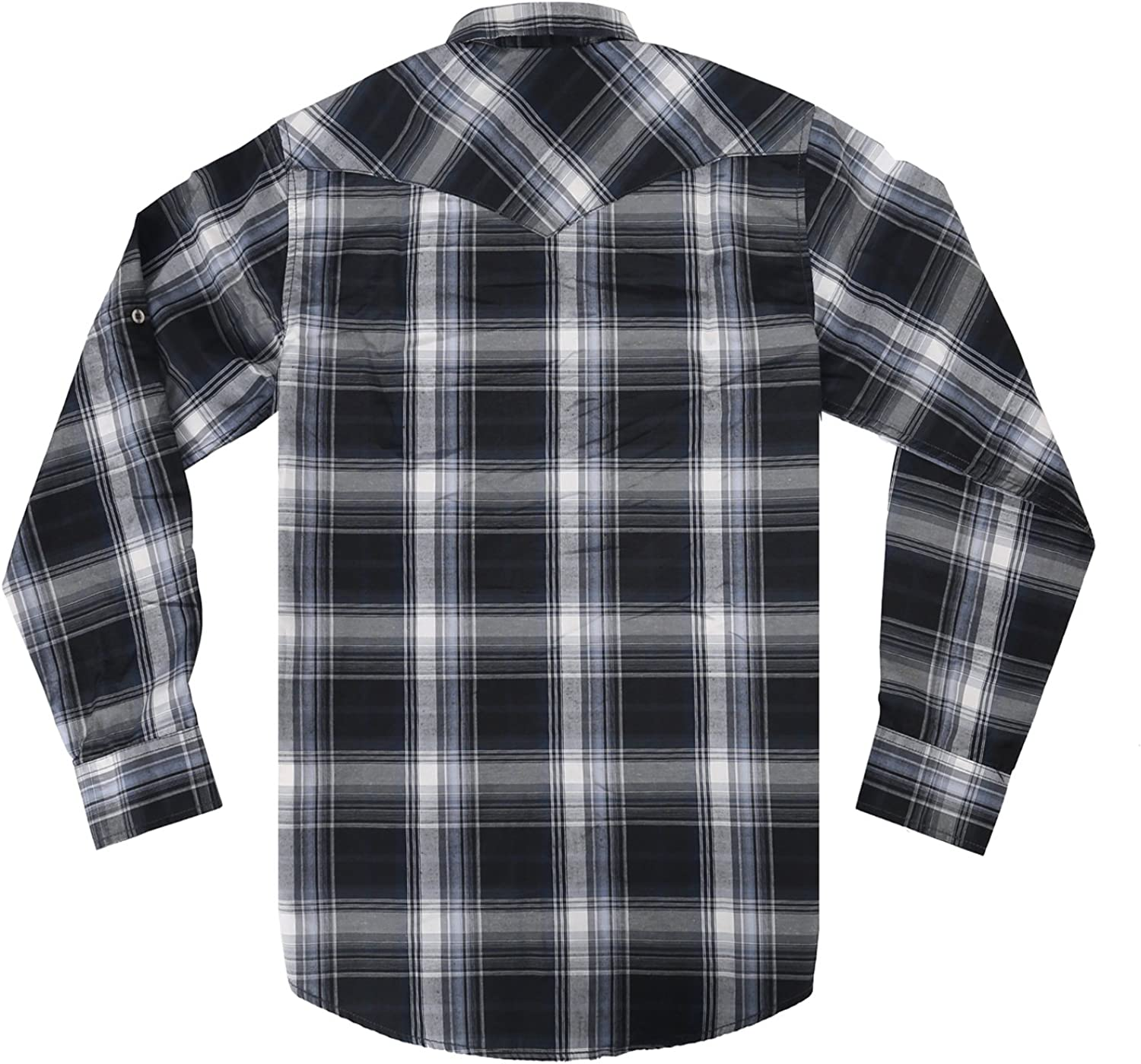 Mens Casual Long Sleeve Plaid Shirt with Pearl Snaps