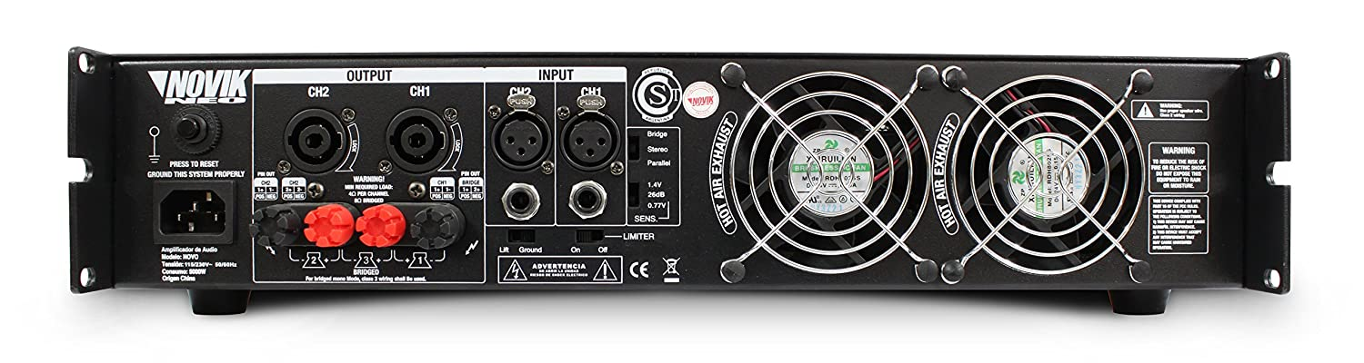 Amazon.com: NOVIK NEO NOVO 500 Power Amplifier 500-Watt RMS Screen channel temperature protect, clip and signal presence LED turbo cooling grilles: Musical ...