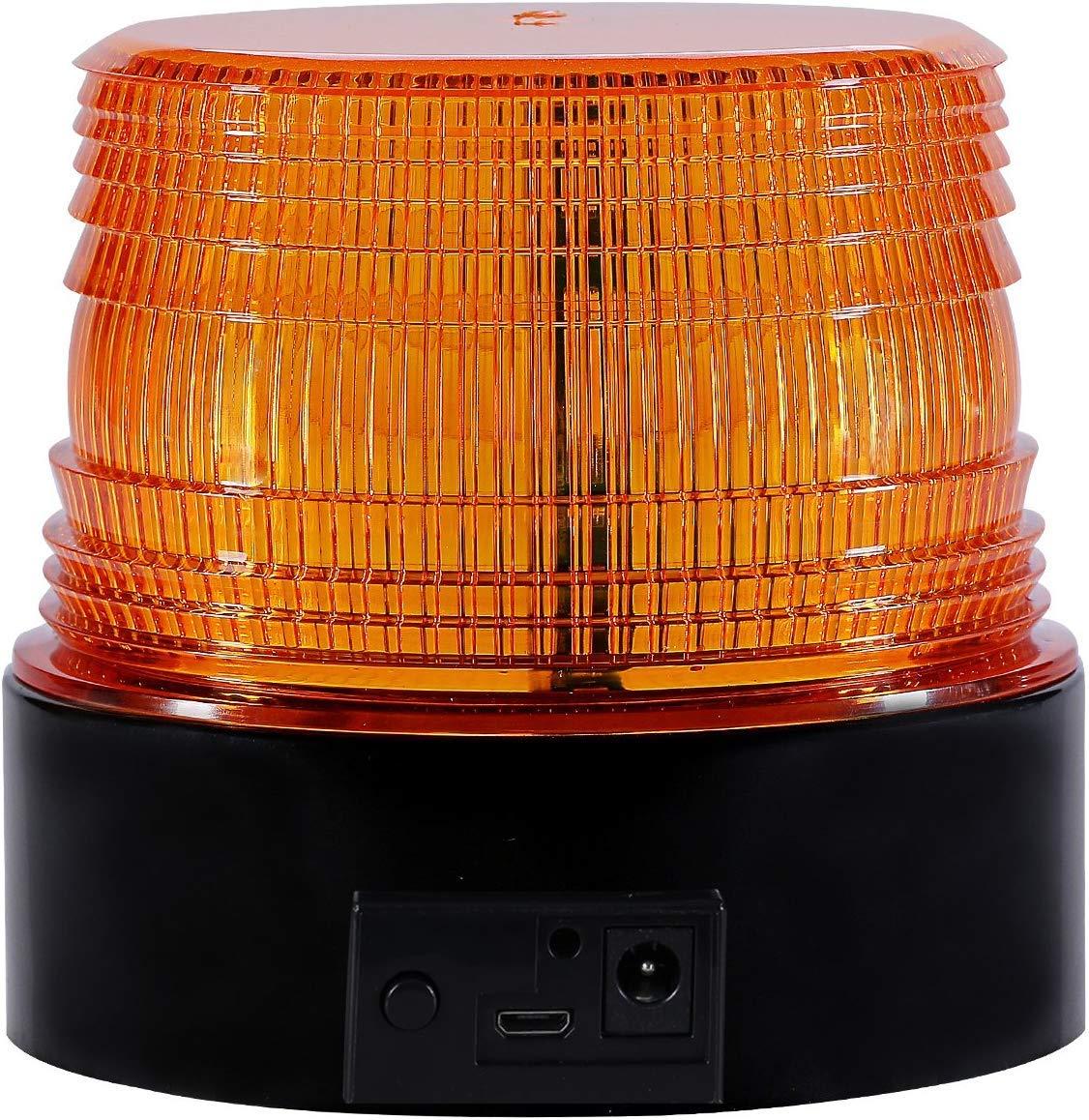 KINOEE Gyrophare Orange LED phare d/'avertissement clignotant pour auto v/éhicule avec magnetique durgence signalement lumi/ères 12 V