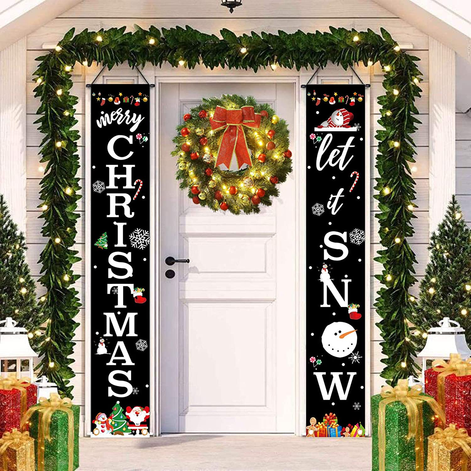 Pecsu Merry Christmas Banner for Home, Christmas Porch Sign Decorations Outdoor Indoor, Winter Holiday Wall Hanging Black Let It Snow Decor for Front Door Home Kitchen Party 12 x 72 Inch