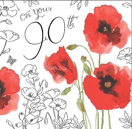 Twizler 90th Tarjeta de cumpleaños para Her con decoración ...