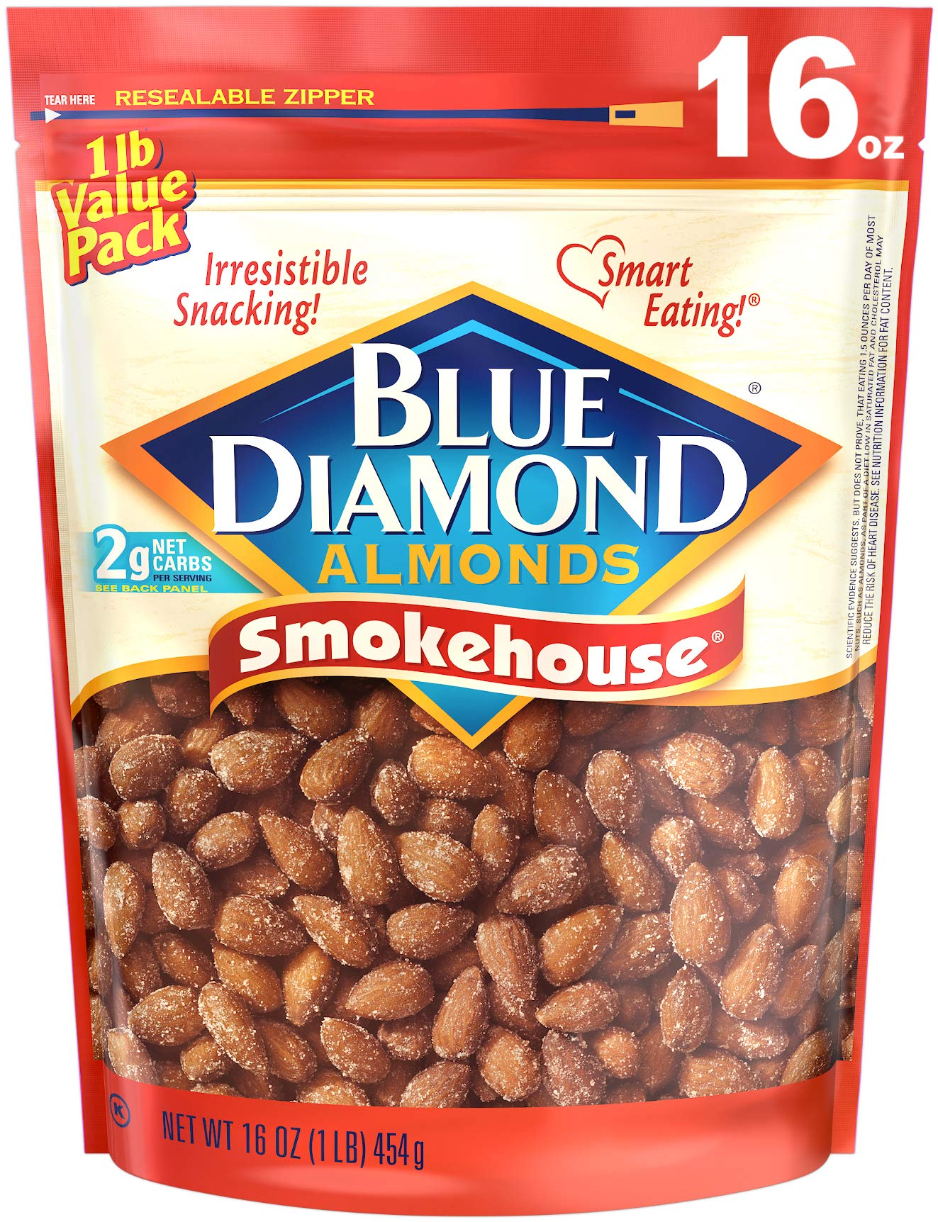 Blue Diamond Almonds Gluten Free Smokehouse Flavored Snack Nuts, 16 Oz Resealable Bag (Pack of 1)