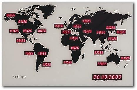 "NeXtime Reloj mundial digital ""WORLD TIME DIGIT"", de vidrio y aluminio,"