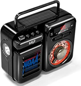 Weather Radio,Emergency Radio,NOAA Alert Radio with Solar Hand Crank,Portable AM/FM/WB Radio with LED Flashlight, Wireless Speaker, MP3 Music Player for Home & Outdoors,2000mAh Phone Charger