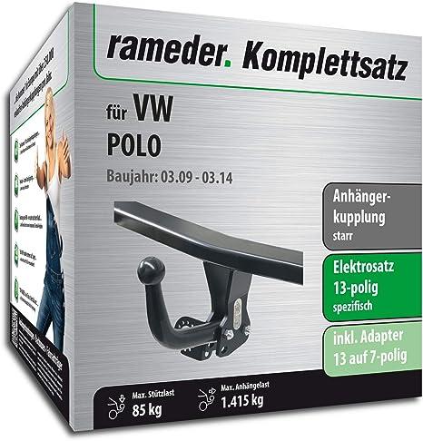 rameder Juego completo, remolque fijo + 13POL Elektrik para Volkswagen Polo (122280 – 08025
