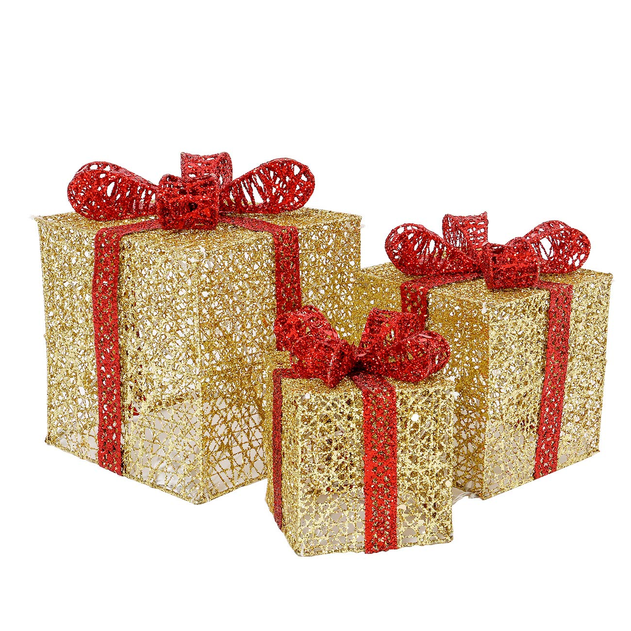 Gold Weddings Yard Home Holiday Art Decorations Sunnyglade Set of 3 Christmas Lighted Gift Boxes with Bows Present Boxes for Christmas