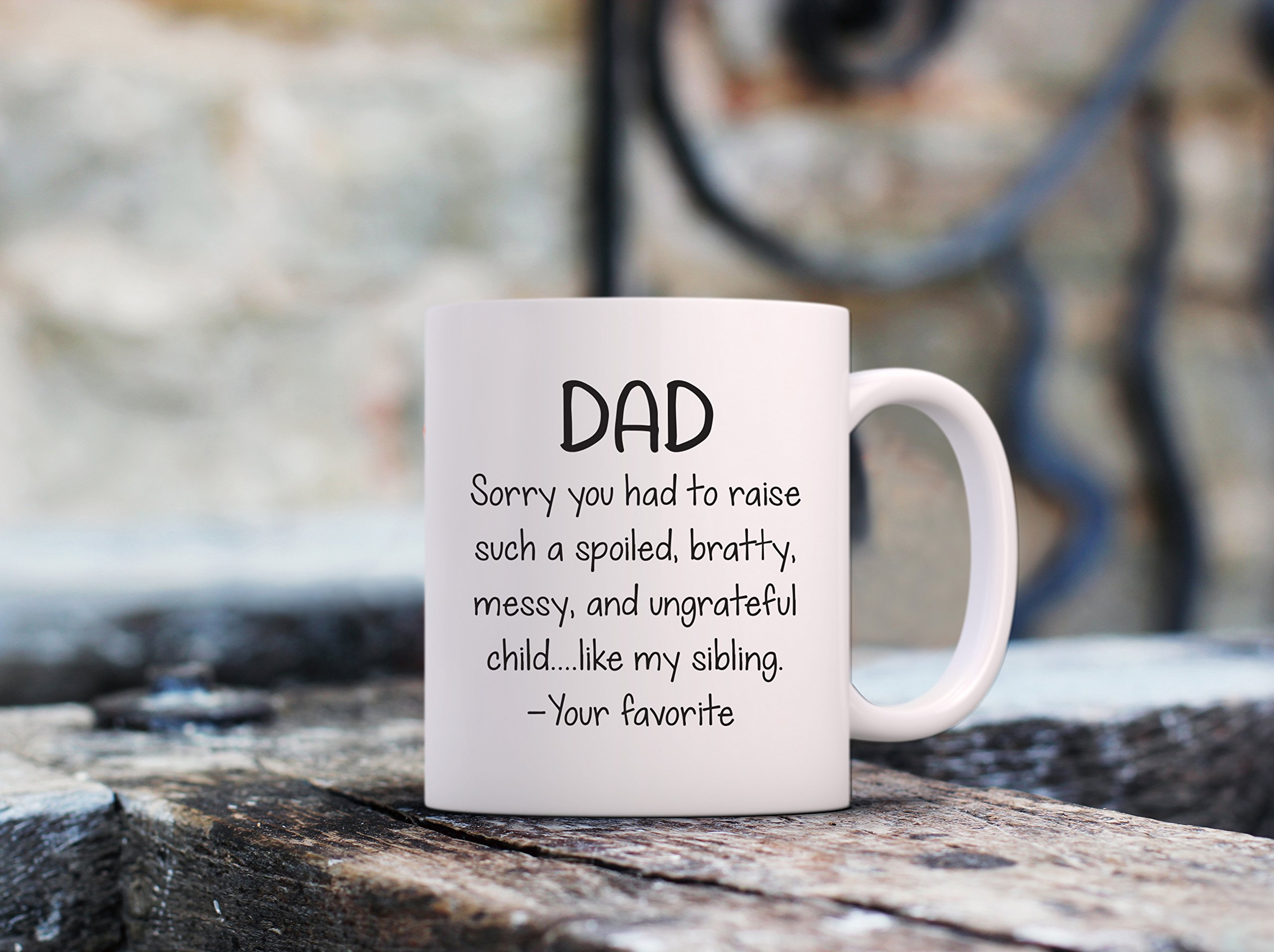 Spoiled Sibling Funny Coffee Mug - Best Dad Gifts - Unique Gag Fathers Day Gift For Him From Daughter, Son, Favorite Child - Cool Birthday Present Idea For Men, Guys, Father - Fun Novelty Cup - 11 oz by Wittsy Glassware and Gifts (Image #4)