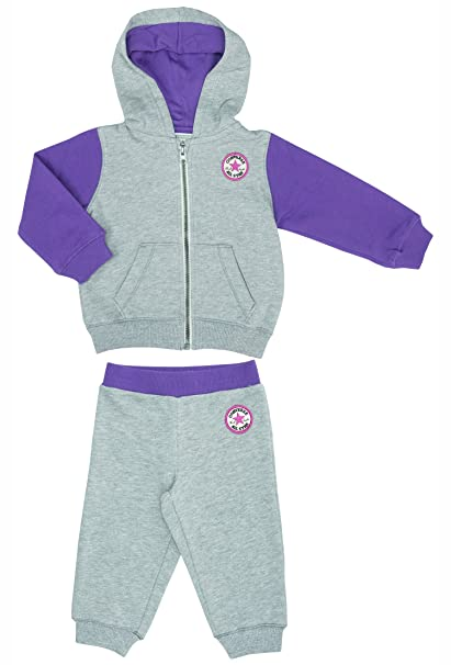 4b86856171f8 Converse All Star Baby Girls Hooded Tracksuit Set - Heath - 24 Months   85-