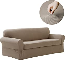 Maytex Pixel Stretch 2 Piece Sofa Furniture Cover / Slipcover, Sand