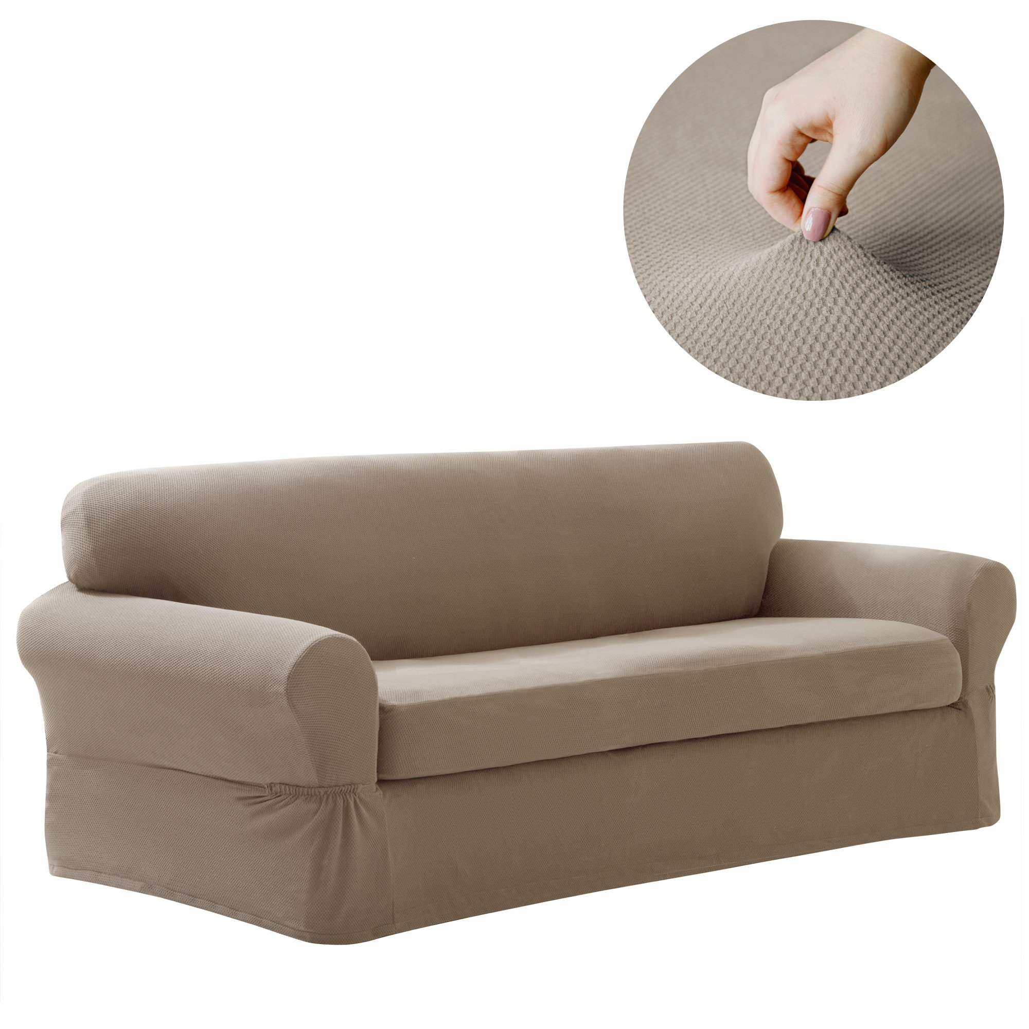 Maytex Pixel Stretch 2-Piece Sofa Furniture Cover / Slipcover, Sand by MAYTEX