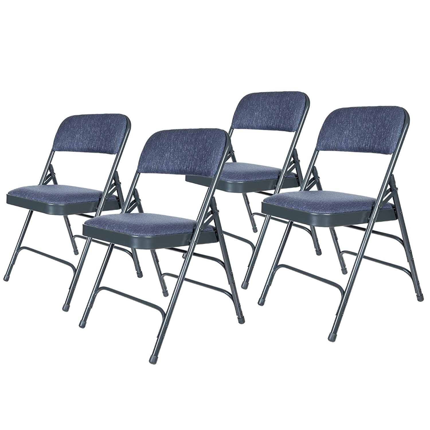 OEF Furnishings Premium Fabric Upholstered Steel Folding Chairs, 4 Pack, Blue