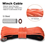 """Yoursme Nylon Synthetic Winch Cable Rope with Sheath for SUV ATV UTV Winches Truck Boat Ramsey Car Orange (1/4"""" x 50'-7500LB+)"""