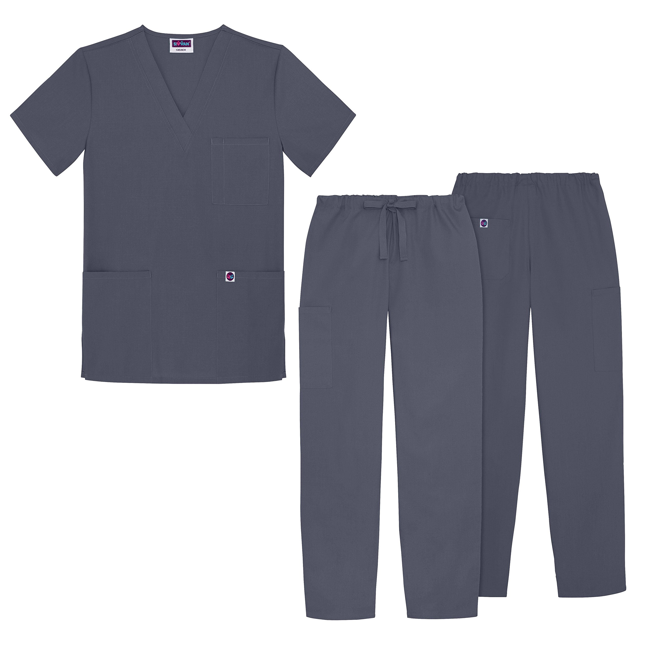 Sivvan Unisex Classic Scrub Set V-neck Top / Drawstring Pants (Available in 12 Solid Colors) - S8400 - Charcoal - XS