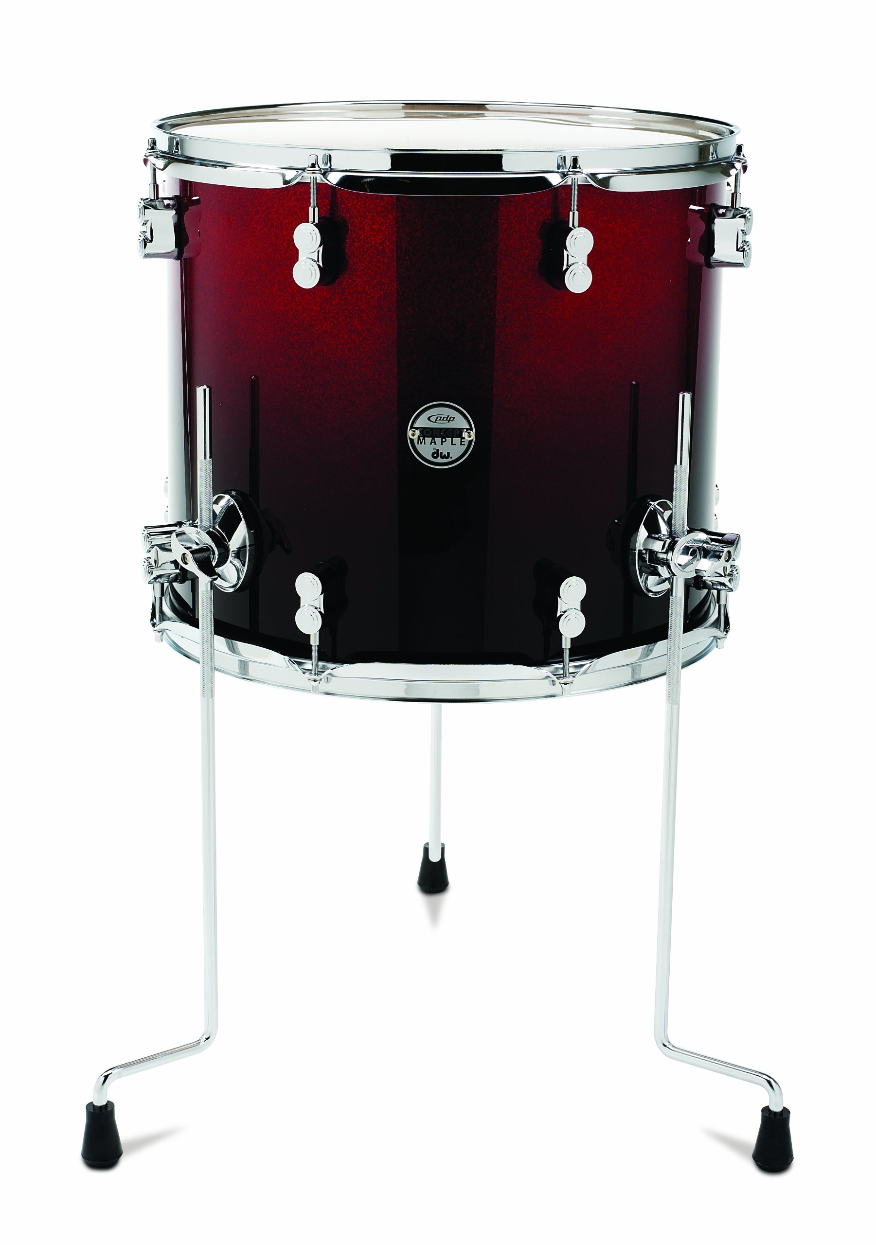 Pacific Drums PDCM1416TTRB 14 x 16 Inches Floor Tom with Chrome Hardware - Red to Black Fade