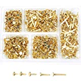 Juvale Mini Brads Fasteners, 5 Assorted Sizes (Gold, 500 Pieces)