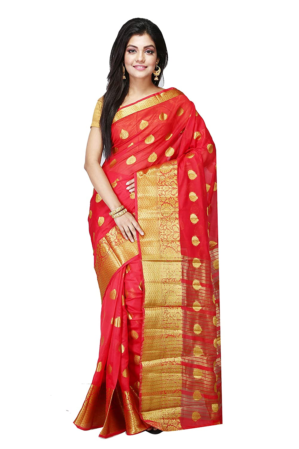 8d190f8ba96ca2 Women's Red and Golden Art Silk Saree and Blouse: Amazon.in: Clothing &  Accessories