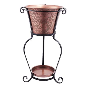 Old Dutch Solid Etched Beverage Tub with Stand, 5 gallon, Copper Antique/Black Power Coated