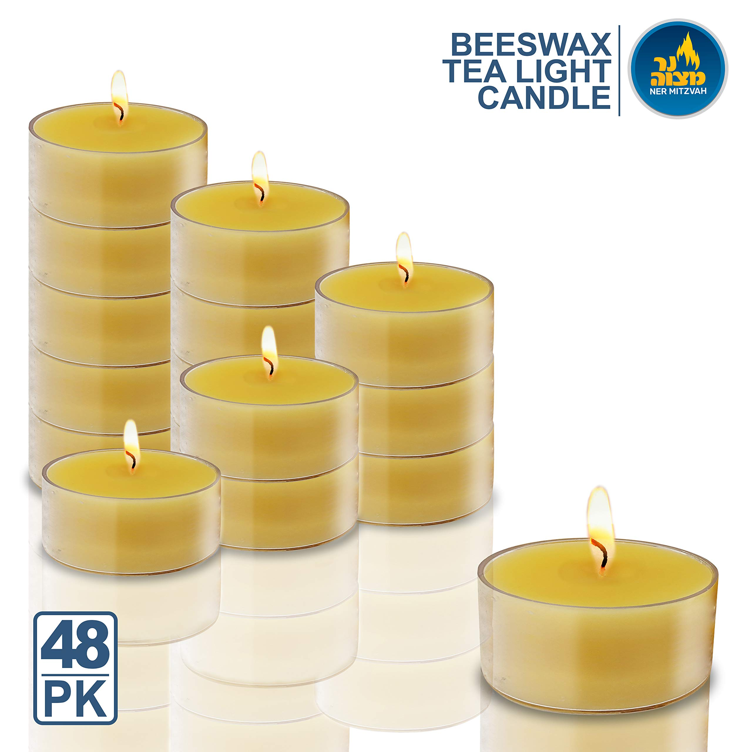 Ner Mitzvah Pure Beeswax Tealight Candles Handmade in USA - 48 Pack - 4 Hour Burn Time, Clear Cup by Ner Mitzvah