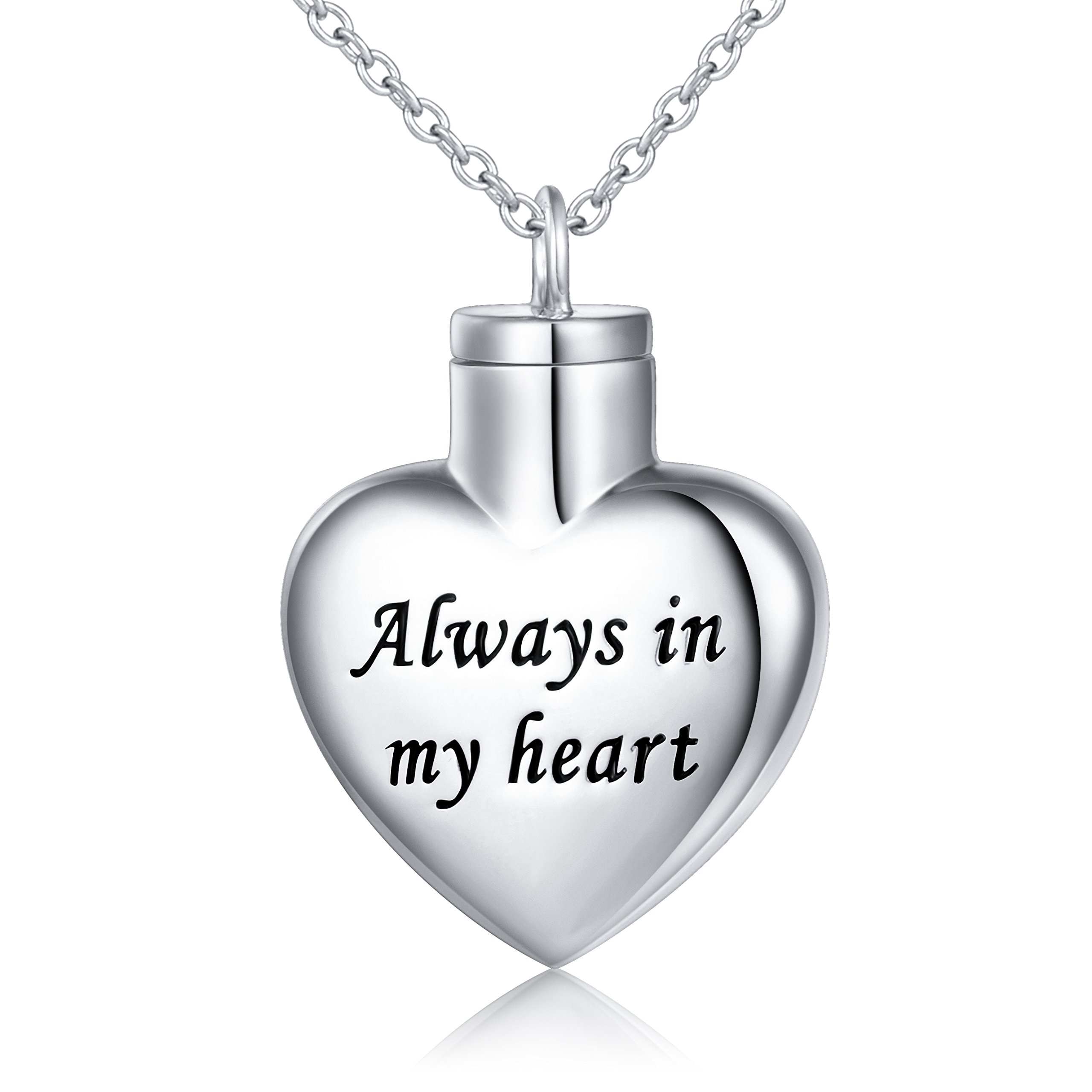 Cremation Jewelry Sterling Silver Always in My Heart Urn Necklace Ashes Keepsake Pendant Necklace, 20'' (with 18'' Chain)