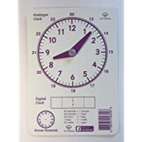 DSC Publishing Educational Teaching Clock for Children- A5 Vinyl Analogue and Digital Clock for Time Teaching- Ideal for Dyslexia, ADHD- Movable Hands