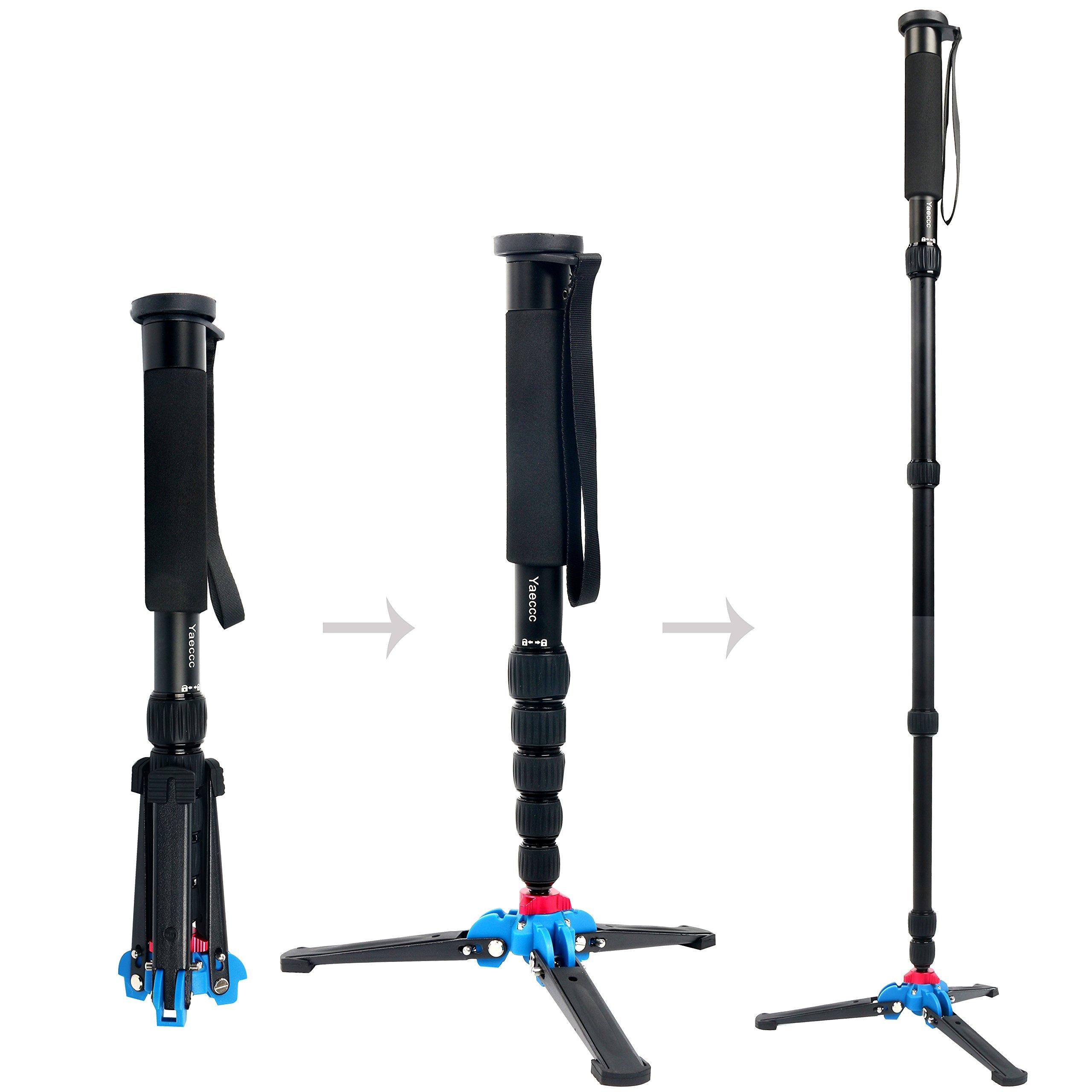 YaeCCC Lightweight Portable 63-inches Camera Aluminium Monopod with Folding Three Feet Support Stand. 6-Section Leg, Leg max Diameter: Φ28MM, Folding Length: 420mm (16.5'').(K-266 Black)