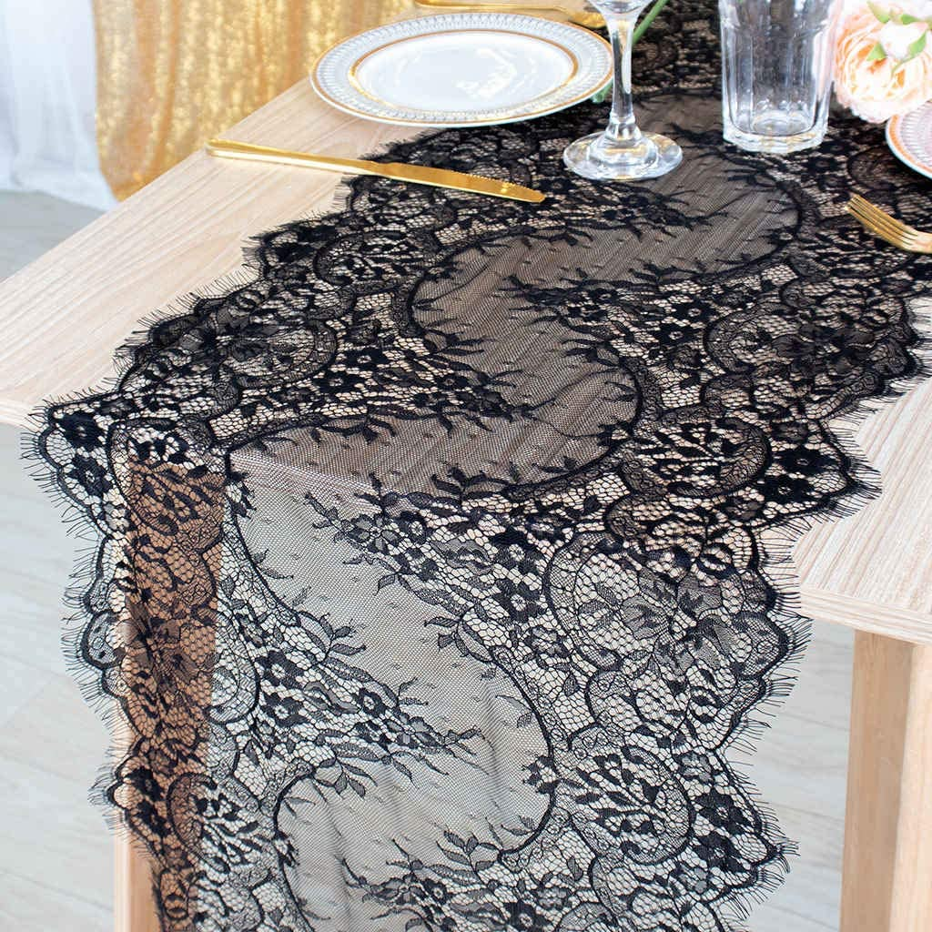 DUOBAO Black Lace Table Runner 18x120-Inch Rustic Wedding Reception Table Runner Lace Runners for Table Rustic Boho Wedding Decor Vintage Lace Tablecloths Table Runner (Dark Narcissus)