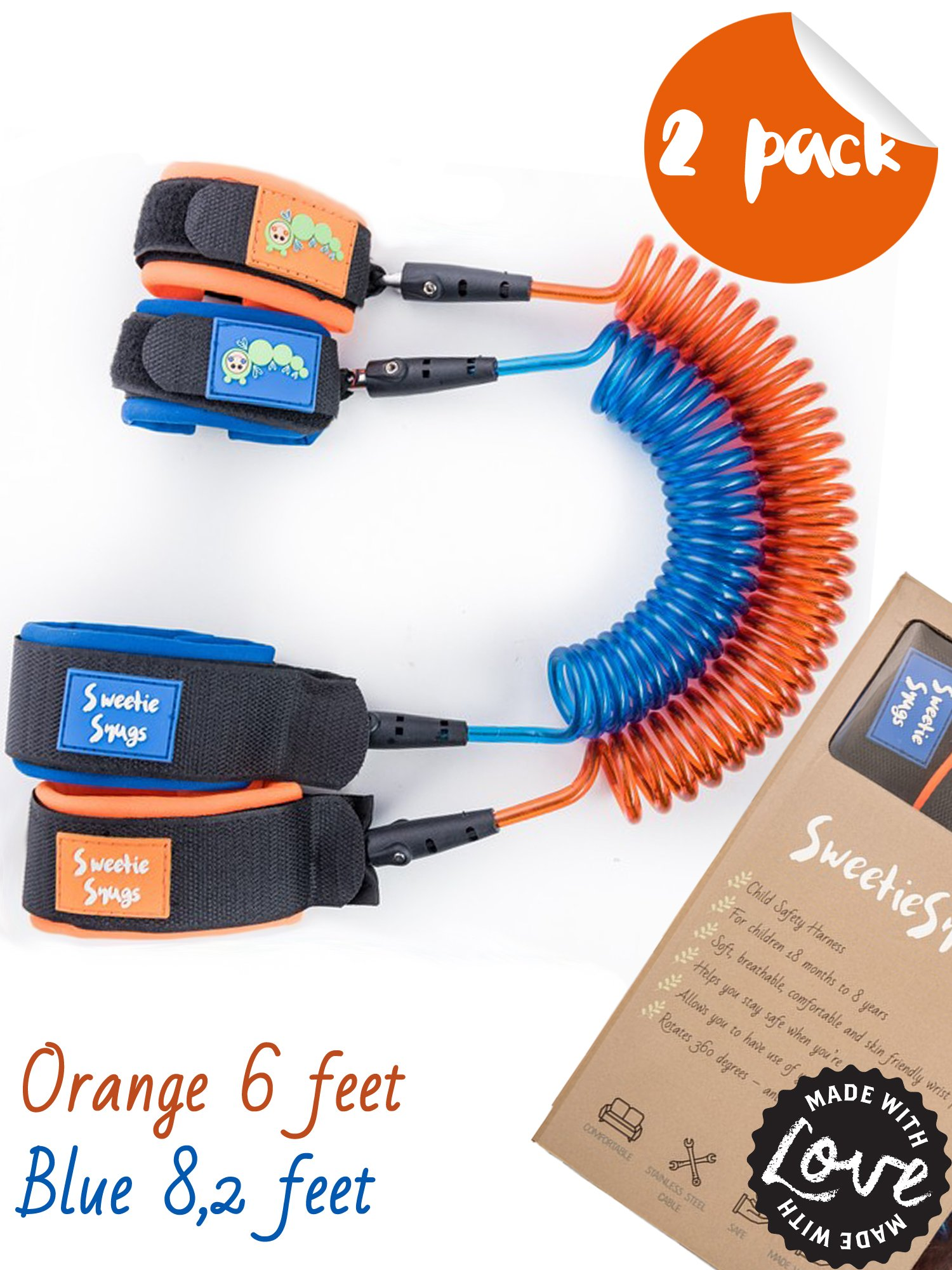 SweetieSnugs Safety Harness for Kids | 2 Pack | Girl or Boy Children Leash | Child Wrist Link | Orange & Blue | Toddler Traffic Leash | Leash for Kids | Child Wrist Leash or Harness by SweetieSnugs (Image #1)