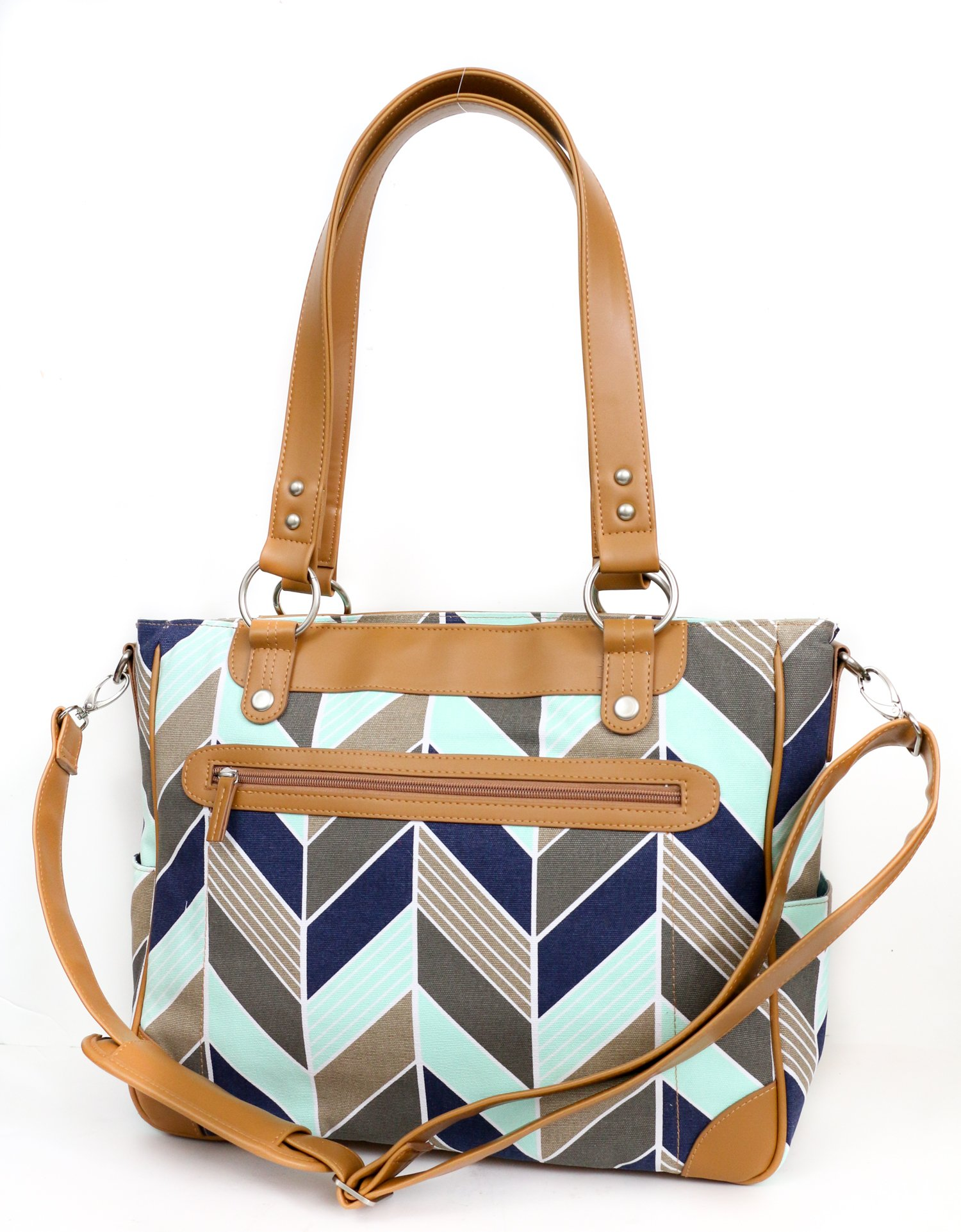 Kailo Chic Camera and Laptop Tote in Navy and Mint Herringbone