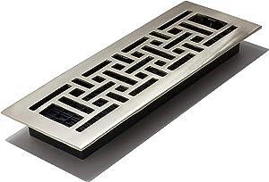 Decor Grates AJ414-NKL 4-Inch by 14-Inch Oriental Floor Register, Solid Brass, Brushed Nickel Finish
