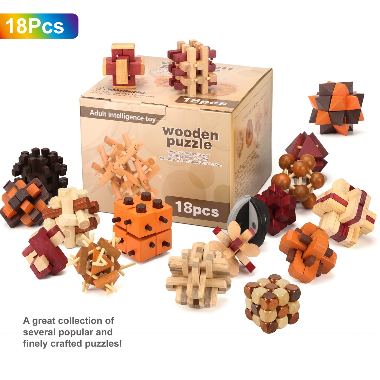 VolksRose 3D Wooden Cube Brain Teaser Puzzle 18 pcs, IQ Puzzles Great Educational Intelligence Jigsaw Puzzles Toys for Adult Children and Student - Challenge Your Logical Thinking U5 by VolksRose