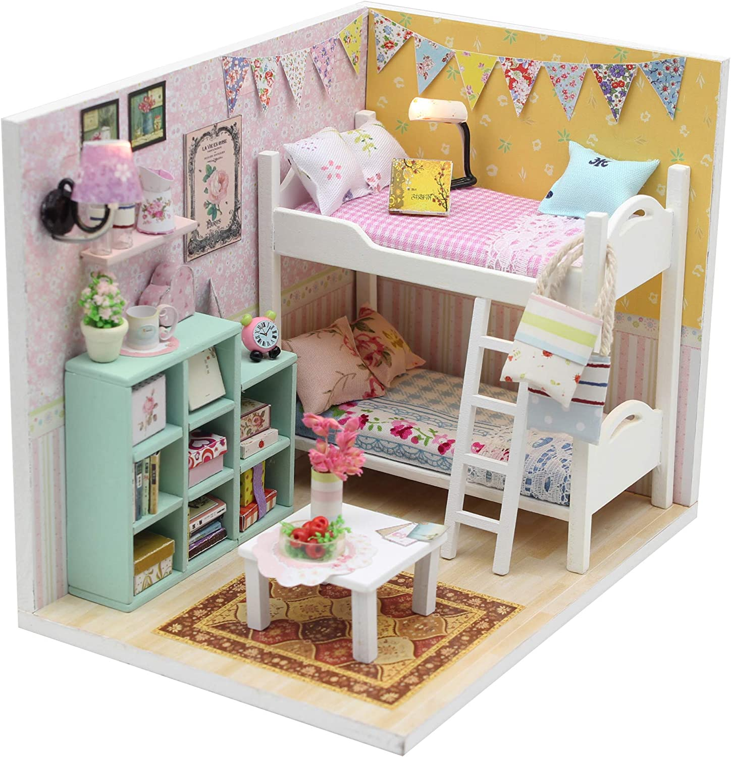 Kisoy Romantic and Cute Dollhouse Miniature DIY House Kit Creative Room Perfect DIY Gift for Friends, Lovers and Families (Cheryl's Room)