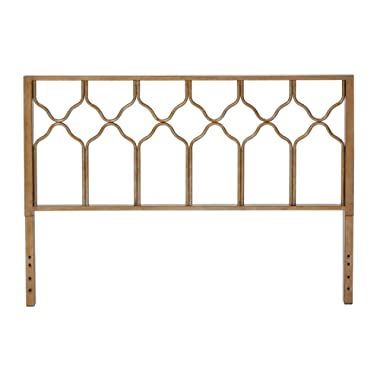 In Style Furnishings Classic Geometric Metal Honeycomb Headboard in Brushed Gold for King Size Beds
