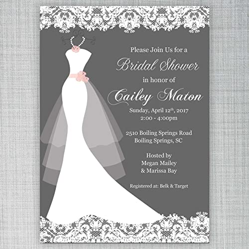 Gray Bridal Shower Invitation Customizable