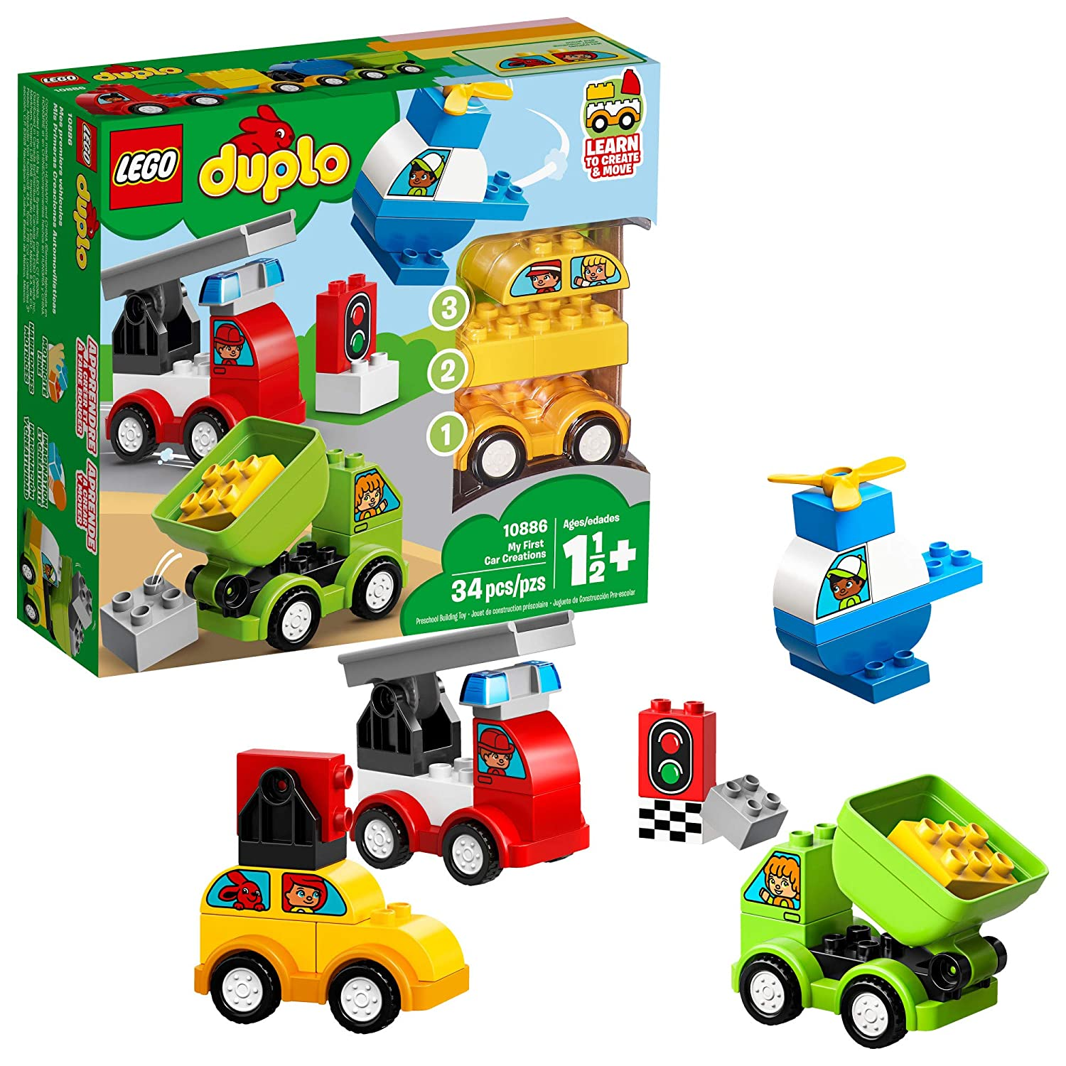 LEGO DUPLO My First Car Creations 10886 Building Blocks, New 2019 (34 Pieces)