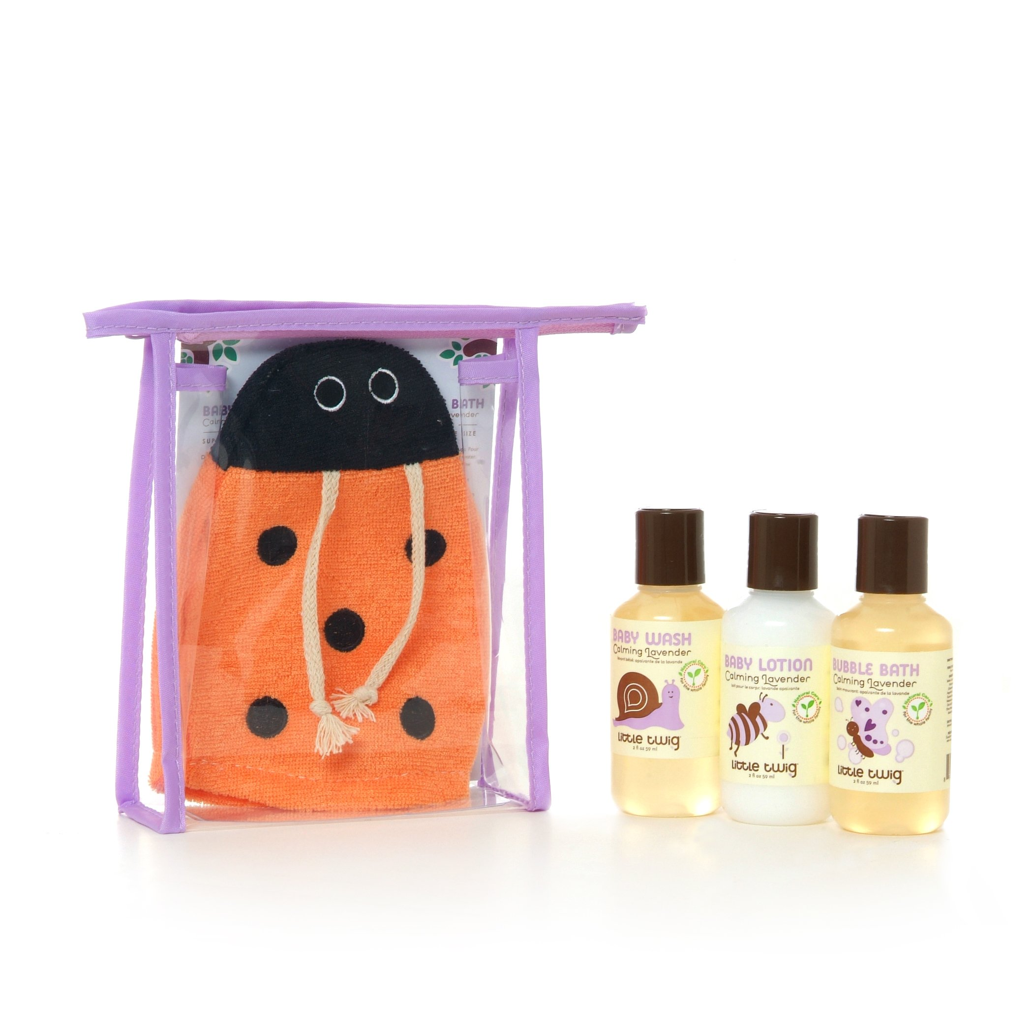 Little Twig All Natural Baby Travel Basics Ladybug Set with Baby Bubble Bath, Lotion, Body Wash, and Bath Mitt, Lavender
