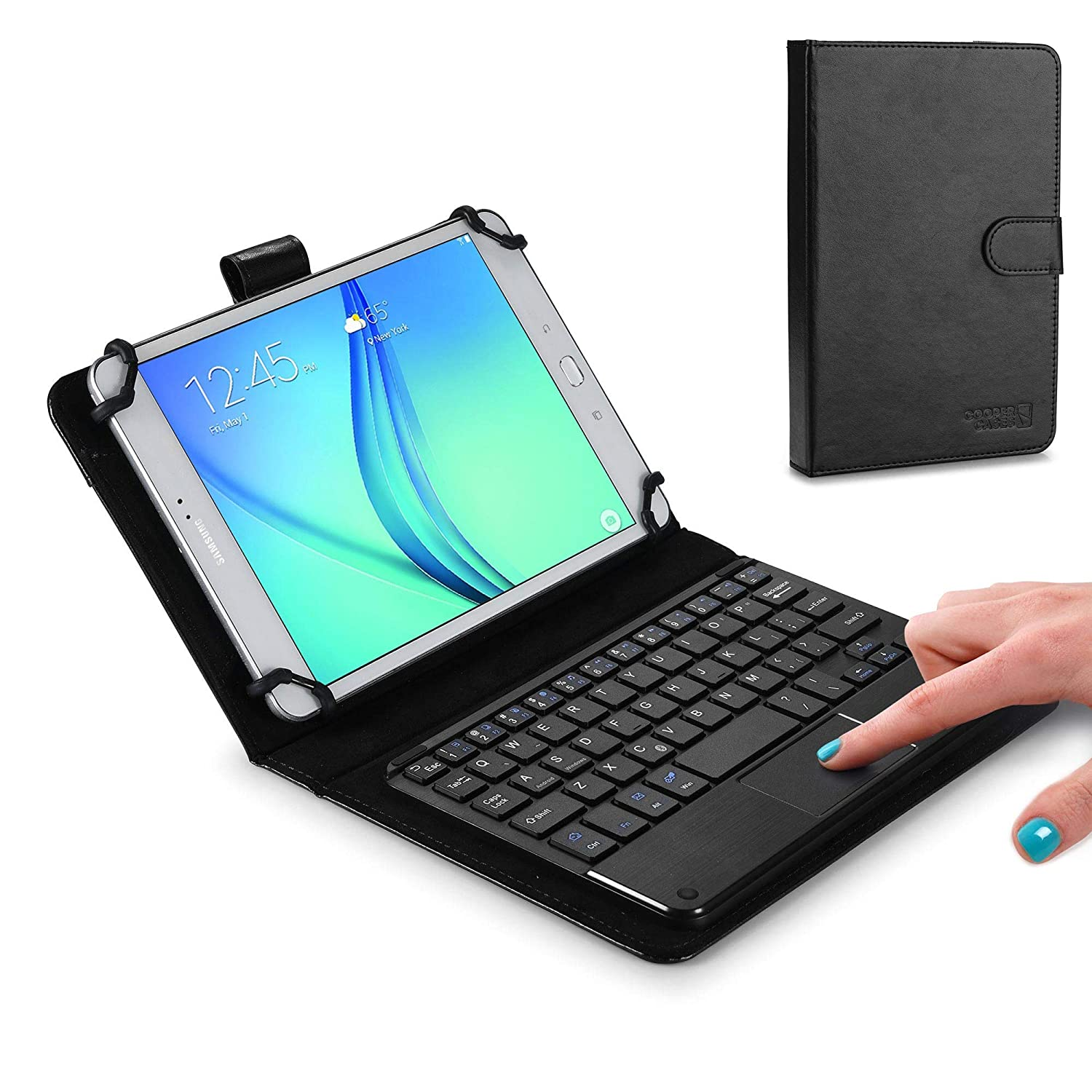 Cooper Touchpad Executive Keyboard Case for 7-8 Inch Tablets | 2-in-1 Bluetooth Wireless Keyboard with Touchpad and Leather Folio Cover (Black)