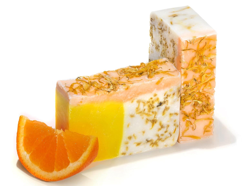 Pastilla de jabón de naranja con aceite de caléndula (4 Bar Set)- Orgánico y artesanal con aceites esenciales. Jabón corporal y facial hidratante.