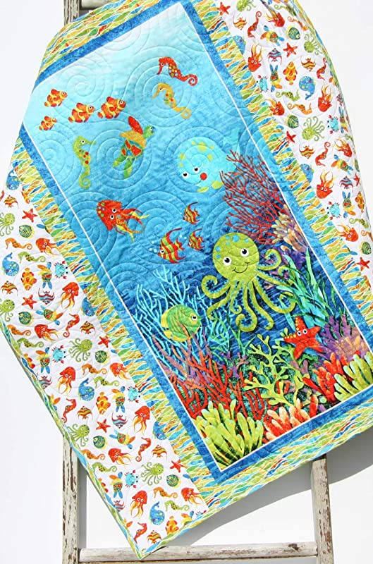 Ready to Ship Seahorses Jellyfish Handmade Baby Quilt Octopus Ocean Baby Boy Quilt for Sale