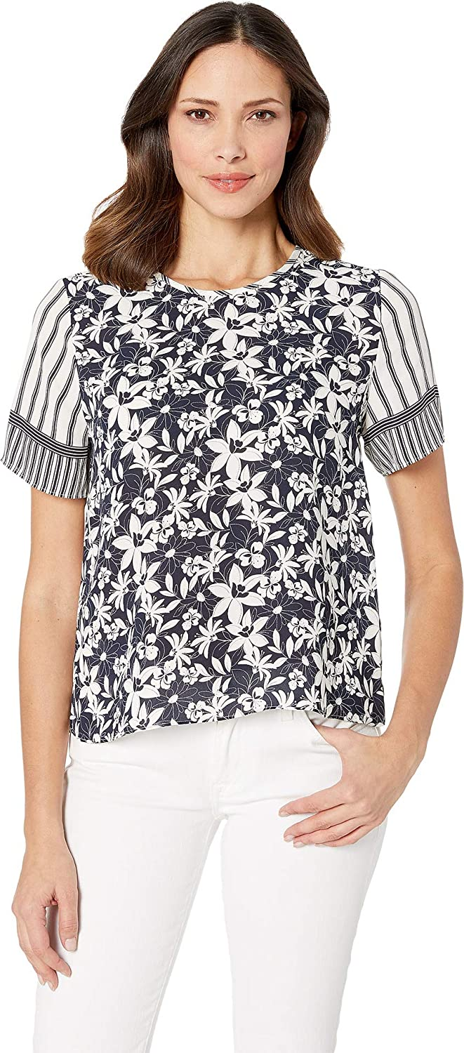 Classic Navy Vince Camuto Women's Short Sleeve Floral Lace Mix Print Blouse