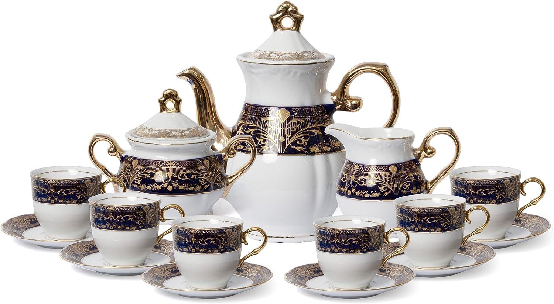 . Original Czech Tableware Complete Premium Service for 6 Vintage Cobalt Blue Ornament 24K Gold-Plated 8 oz Euro Porcelain Choice of Tea//Coffee//Espresso Set Tea//Coffee 17-pc.